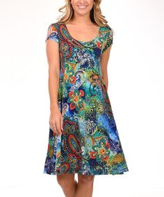420748f0d75 This Green  amp  Red Paisley Cap-Sleeve A-Line Dress - Plus is