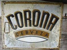 Cerverza Corona - Puerto Rico Vintage tin ad and lizard.
