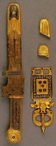 A group of more than 30 items of gold work, purporting to originate from northern Italy, from the tomb of the Lombardic King Agilulf (died AD 615) and from that of his queen, Theodelinda (died AD 628), was in fact manufactured about 1929-30. It is no coincidence that it was contemporaneous with the rise to power of Mussolini, as the Treasure was designed deliberately to appeal to a sense of nationalism. Individual items are based on genuine pieces.