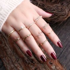 Gmai Bohemian Vintage Women Crystal Joint Knuckle Nail Ring Set of 10 pcs Finger Rings Punk Ring Gift Fancy Jewellery, Stylish Jewelry, Cute Jewelry, Bridal Jewelry, Stylish Rings, Casual Rings, Girls Jewelry, Cute Rings, Pretty Rings