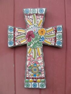 """Easter Bouquet Mosaic Art Cross 15-1/2"""" by 10-1/2"""" Large Size Shabby Rustic Cottage Chic"""