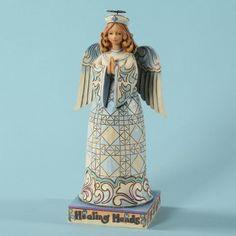 He Works Through Healing Hands-Healing Hands Nurse Angel Figurine