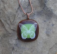 Earthy Butterfly Necklace Fused Glass Butterfly Pendant