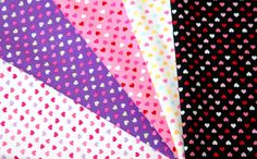 Colorful tiny heart Print fabric scrap set of 5 by beautifulwork, $4.98