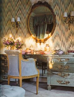 "Mary McDonald on her dressing table from the 1926 Buster Keaton estate: ""It's a tad showgirly, but it's amusing for a closet""; photo by Melanie Acevedo, from the book, ""Mary McDonald Interiors: The Allure of Style"" of Decor, Mirrored Furniture, Art Of Living, Home, Wallpaper, Decor Inspiration, House Interior, Enchanted Home, Mirror"