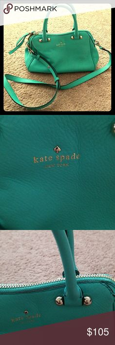 Kate Spade hand bag Kate Spade hand bag.   Teal peppled leather. Gold hardware.  Detachable shoulder strap.  Navy and white striped lining inside with two pockets.   Excellent condition. kate spade Bags Satchels