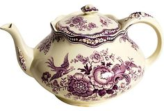 Purple Transferware Teapot