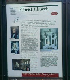 Sign is located outside of the entrance to the church, on 2nd Street near Market Street, Olde City.