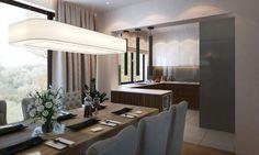 Stół w jadalni, krzesła, lampa w jadalni