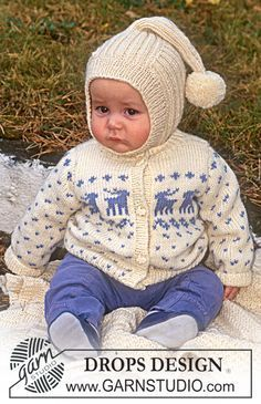 Sweater with deer motif, hat with 'tail' and blanket in Karisma Superwash Free pattern by DROPS Design.