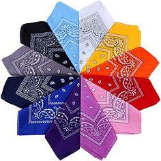12 x noir motifs de Paisley bandana écharpe tête cou 100/% coton