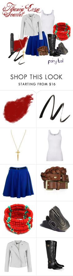 """""""Erza Scarlet"""" by hairlikestarlight ❤ liked on Polyvore featuring Giorgio Armani, Benefit, Ever Eden by Michelle Phan, Splendid, Mulberry, Fantasy Jewelry Box, Elena Estaun, MuuBaa, Tory Burch and TONYMOLY"""