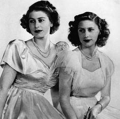 British Royal Family. Future Queen of England Princess Elizabeth and future Countess of Snowdon Princess Margaret, circa late 1940sNone