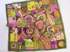 Hundertwasser inspired hand painted silk scarf - www.silkywaysilk.com