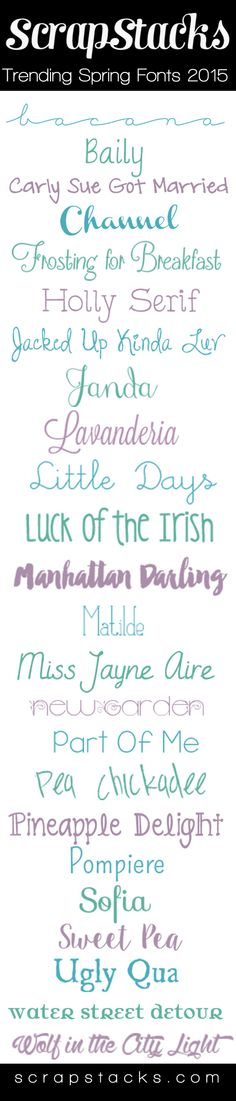 Spring Fonts for 2015  ~~ {23 Free & 1 pay font w/ links}