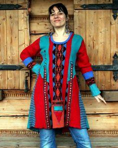 L-XL Цыганская этническая фолк лоскутное переработанных свитер туника