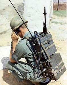 "Vietnam War 1970's: Soldier using the KY38 ""Manpack"" part of the NESTOR system 1970s Vietnam."