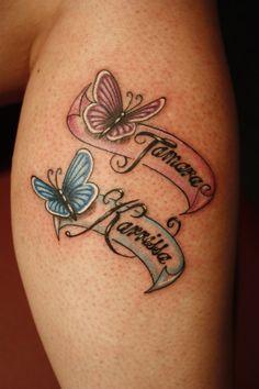 Mom daughter tattoos, mother tattoos, tattoos for daughters, sister tattoos, butterfly tattoos Mama Tattoos, Name Tattoos For Moms, Tattoos With Kids Names, Mother Tattoos, Family Tattoos, Tattoos For Daughters, Friend Tattoos, Foot Tattoos, Body Art Tattoos