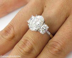 I Do!  I Do!  I Really Do!!! --- Vintage 4.61ct Oval Cut Diamond Three Stone Engagement 18k White Gold Ring EGL USA