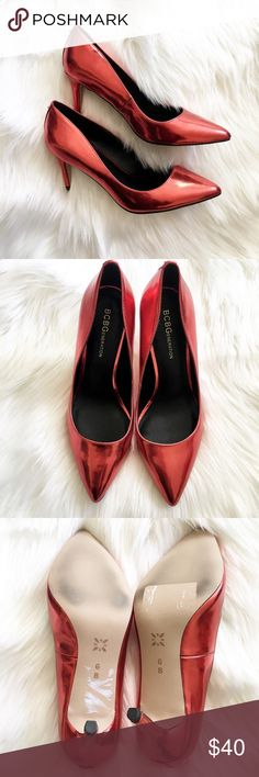 BCBG Red Metallic High Heel Pointy Pumps