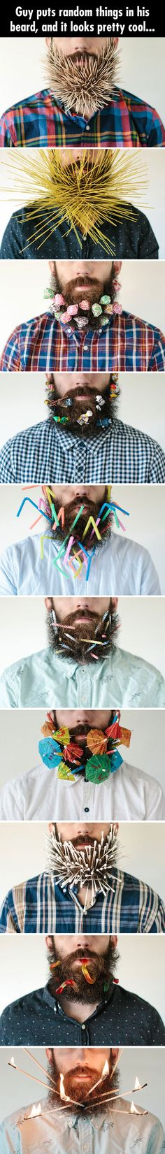 Hilarious Pictures of the week - 65 pics - Guy Puts Random Things In His Beard, And It Looks Pretty Cool