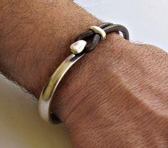 Mens Bracelet Leather, Leather Bracelet, Black Brown Leather Mens Bracelet, Silver Plated Customized On Your Wrist