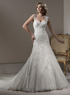 Sweetheart Natural waist Trumpet / Mermaid Tulle wedding dress $442.57