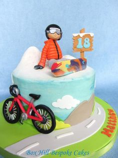 Snowboard and Bicycle Cake. - Cake by Noreen@ Box Hill Bespoke Cakes