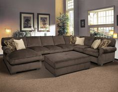 Casual Formal Living Room Decorating Ideas Charming Dark Grey Velvet Oversized U Shaped Sectional Sofa With Chaise Lounge And Rectangle Ottoman Coffee Table, Wonderful Large Sectional Sofas For Living Room: Furniture, Living Room