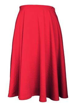 Elastic Waist Midi Long Flare Skirt (Plus Size Available) – Color- Red  #flare #Pleated #skirt #midiskirt #Plussize