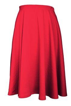 Elastic Waist Midi Long Flare Skirt (Plus Size Available) – Color- Red  #flare #Pleated #skirt #midiskirt #Plussize