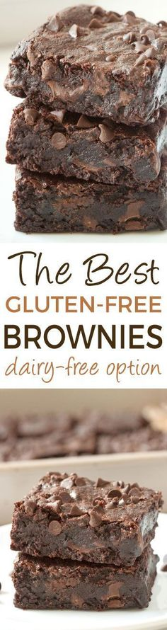 The Best Gluten-free Brownies (100% whole grain, dairy-free, naturally sweetened). Can also be made with whole wheat flour for a non-gluten-free version!