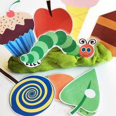 Here is a super cute set of The Hungry Caterpillar printables to use with playdough! Children can make and re-tell their very own story by adding these adorable