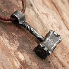 Forged Iron HandmadeTwisted Thor Hammer Viking Pendant Necklace
