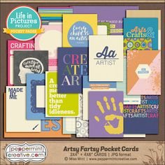 LIP Pocket Page Cards: Artsy Fartsy from peppermintcreative.com #artist #projectlife