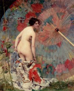 Nude with japnese umbrella by Aime Nicolas Morot (French, 1850-1913)