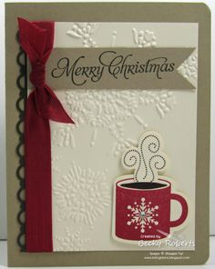 Cardstock: Crumb Cake, Very Vanilla, Early Espresso  Stamp Set: Scentsational Season, More Merry Messages  Accessories: Scallop Border Punch, Holiday Framelits, Snowburst Embossing Folder, Big Shot, Cherry Cobbler Seam Binding Ribbon, Jewels