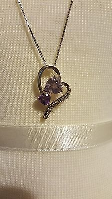 925 Sterling Silver necklace pendent purple amethyst heart cut stone, 18in chain #eBay #necklace #pendent #heart #purple #amethyst #valentinesday #present #gift #love #february