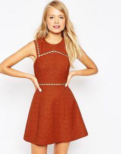 Image 1 ofASOS A-Line Dress with Metal Trim