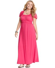 Love Squared Plus Size Short-Sleeve Empire Maxi Dress