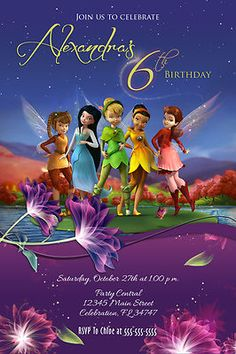 TINKERBELL FARIES #2 CUSTOM BIRTHDAY PARTY INVITATION PHOTO PRINTABLE DISNEY | eBay