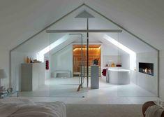 badezimmer dachboden sauna glas trennwand schiebetür