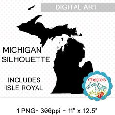 Michigan Clip Art  Silhouette Style Maps  Map Silhouettes