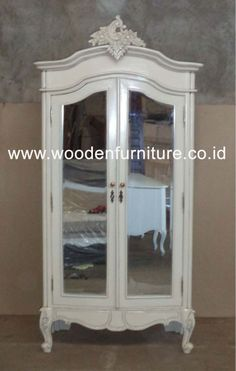 French Style Armoire Rococo Wardrobe Two Doors With Mirror Antique .