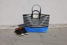 Summer Beach Bags - stripes with solid pop of color