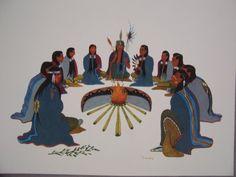 1958 WOODY CRUMBO Peyote Ceremony Litho Print Native American Church, Native American Artwork, Native American Artists, American Indian Art, Native American Indians, Modern Indian Art, Southwestern Art, Litho Print, Religious Paintings