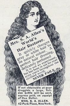 """HAIR CARE: advertisement for """"Mrs. S.A. Allen's World's Hair Restorer,"""" published in the December 1904 issue of Women's Home Companion"""