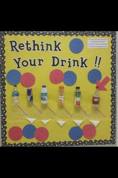 A nutrition themed bulletin board that shows students the sugar content of popular beverages. Nutrition Bulletin Boards, Nurse Bulletin Board, Office Bulletin Boards, Nutrition Education, Nutrition Day, Banana Nutrition, Watermelon Nutrition, Nutrition Quotes, Nutrition Activities