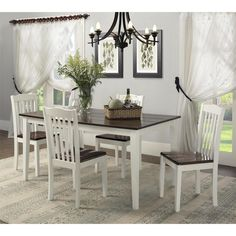 Dorel Living Shiloh 5 Piece Rustic Dining Set - Dining Table Sets at Hayneedle Dining Set, Dorel Living, Farmhouse Dining Room, Wood Dining Table, Dining Table, Home Decor, Dining Room Sets, Dining Room Furniture, Rustic Dining