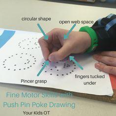 Fine Motor skill development with push pin poke drawing! Your Kids OT